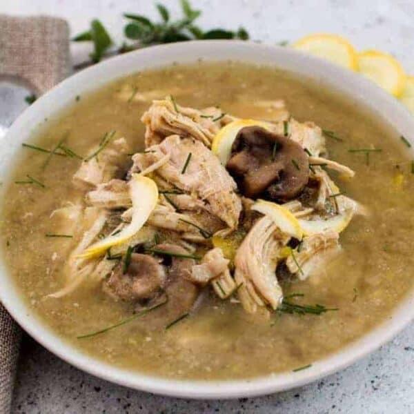 overhead shot of a chicken mushroom soup recipe