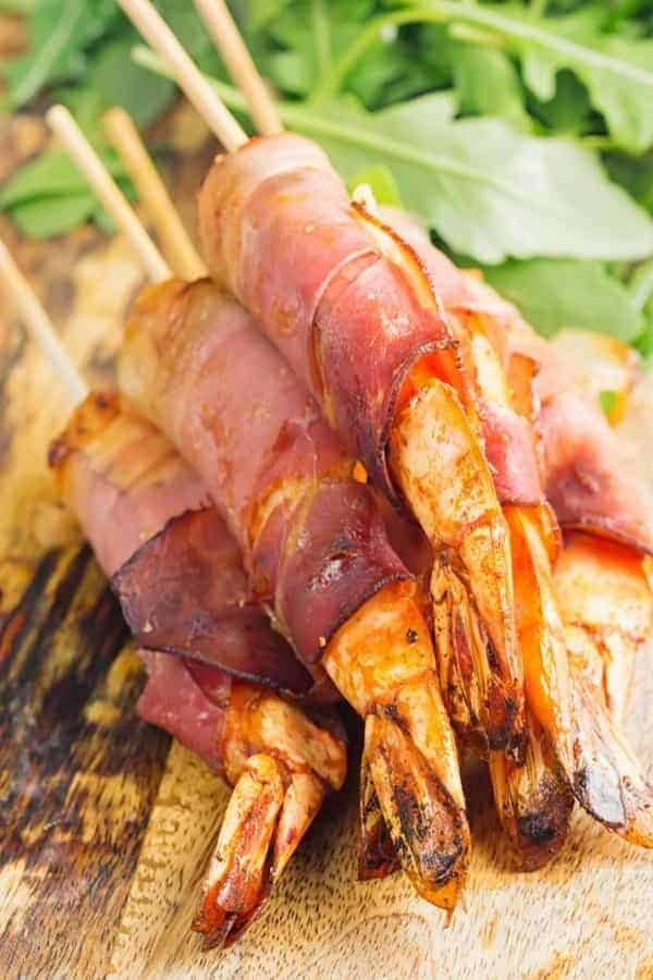 Spanish Prosciutto Wrapped Shrimp Tall Shot