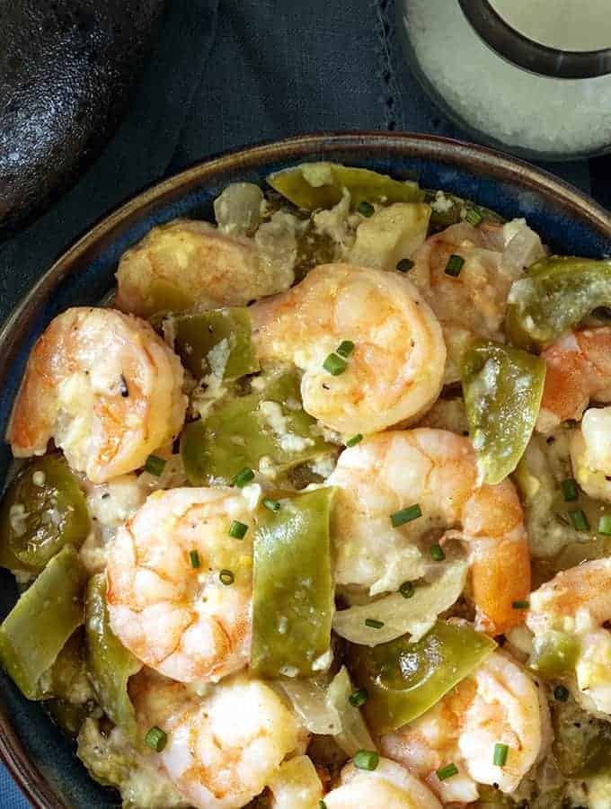Shrimp with Cotija and tomatillos in a serving bowl