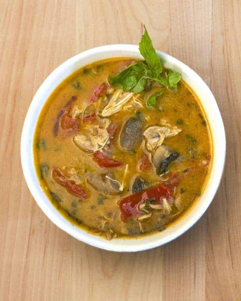 Thai Yellow Curry Soup that uses curry paste, coconut milk and some fresh vegetables to provide a savory, comforting twist on regular chicken soup. This soup is well-spiced, but not spicy, and you can vary the spice level by adjusting how much yellow curry paste you choose to put into it.