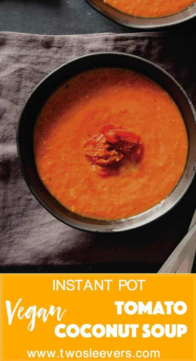 Warming, comforting, spicy, tasty Pressure Cooker Tomato Coconut soup made in your Instant pot or pressure cooker. Taste Indian Food like you've never had before.