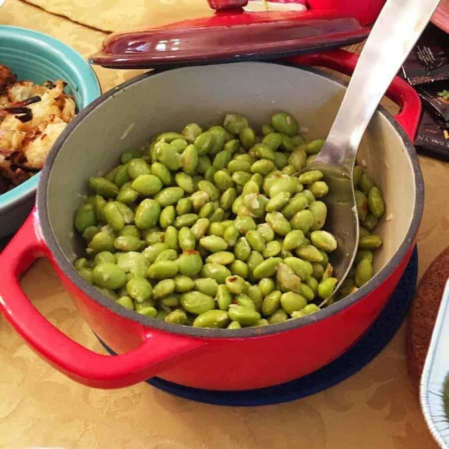 Gluten-free, high protein Hot Garlic Oil edamame