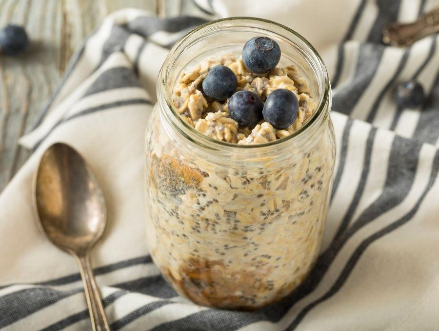 Blueberry Overnight Oats in a mason jar