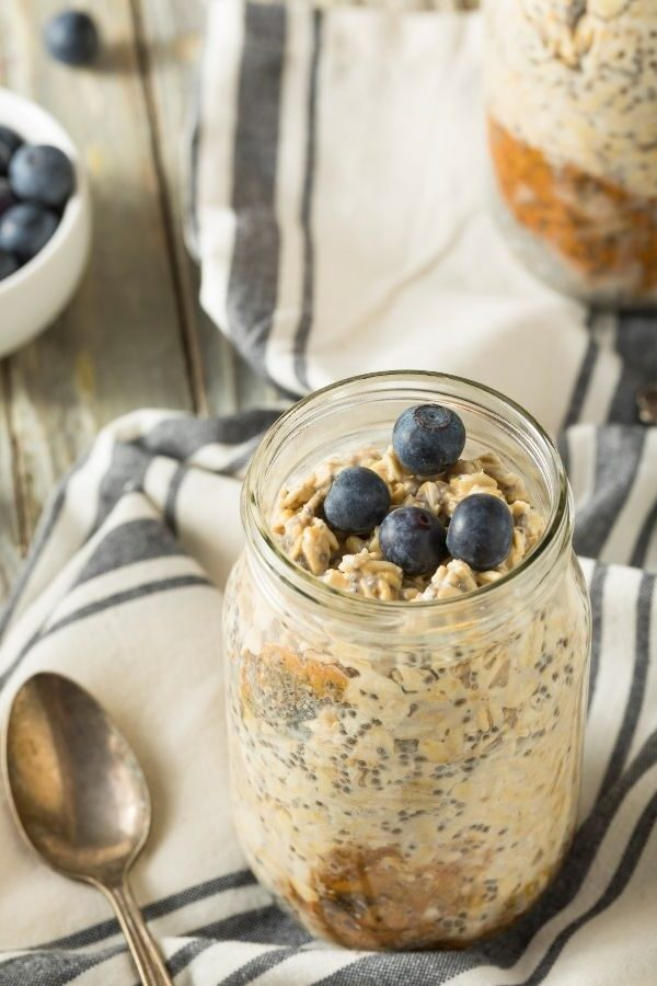 Blueberry Overnight Oats in a mason jar