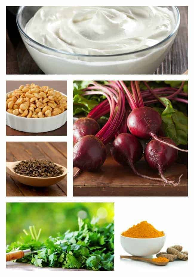 Ingredients for making Indian Beetroot salad include beet, yogurt, peanuts, cilantro, cumin seeds, and turmeric, shown in a collage