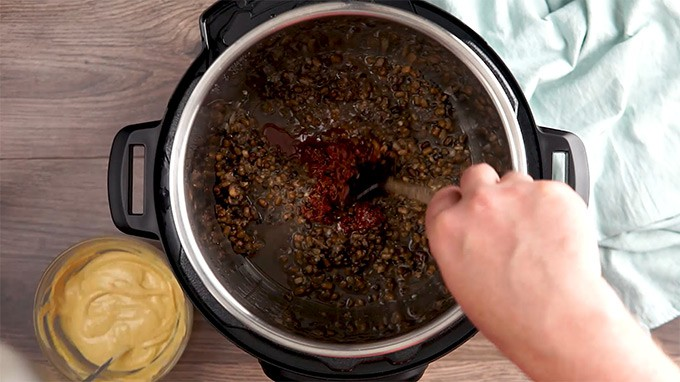 06 Pressure Cooker Dal Makhani cook add in tomato paste and ghee mixture