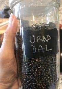 Close up of Urad Dal in a jar.