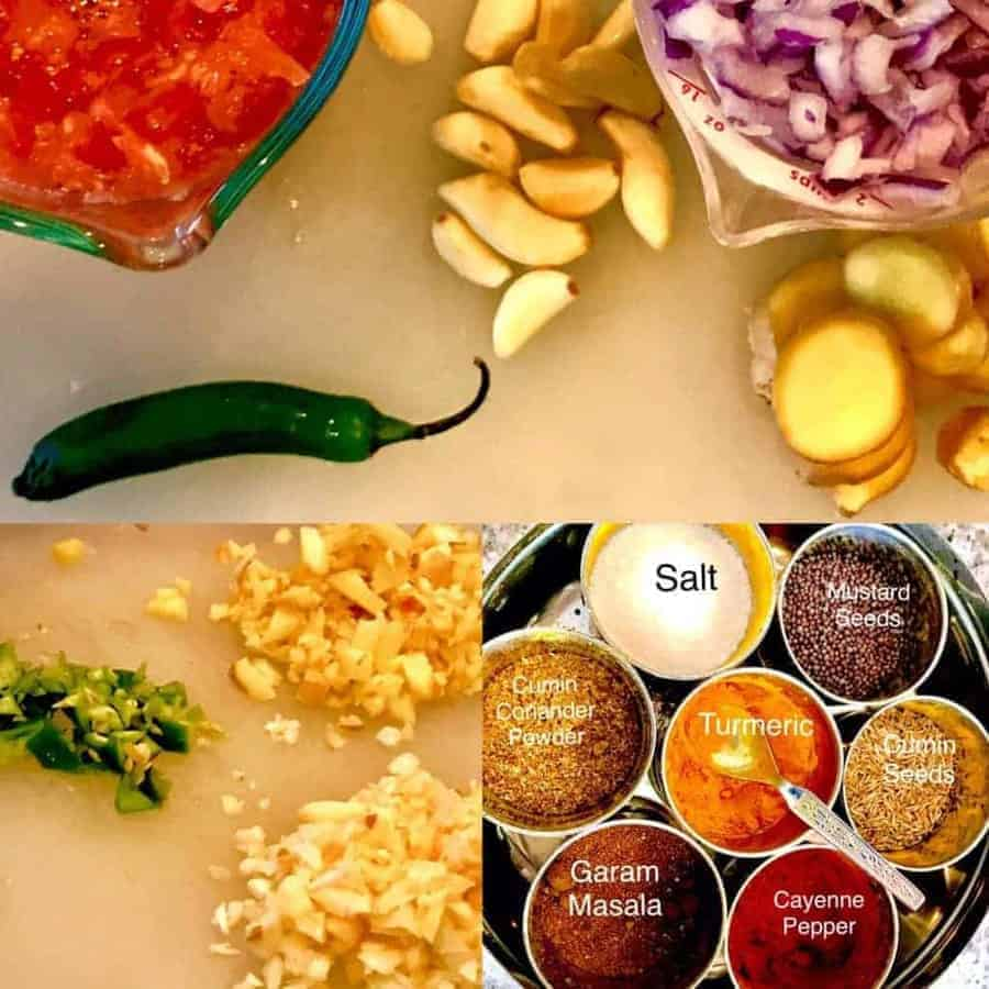 Series of pictures of vegetables and spices.