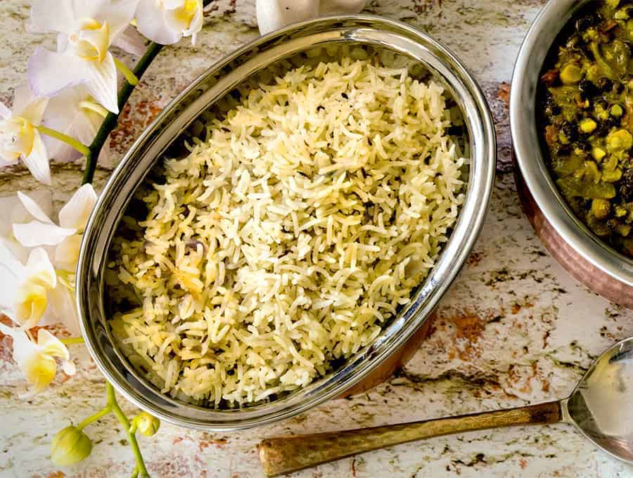 Basmati Rice in a serving dish. Instant Pot Recipe.