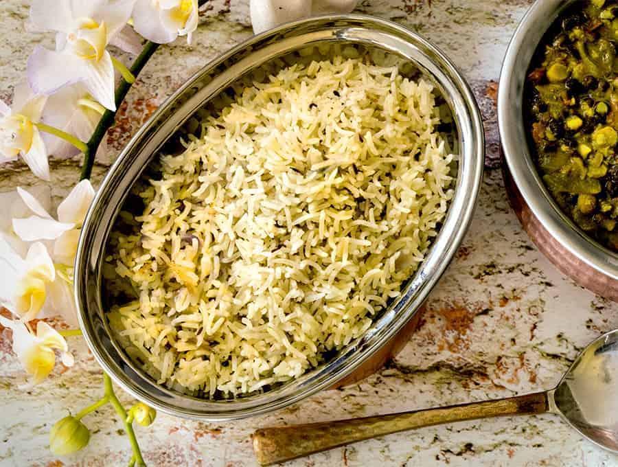 Basmati Rice Pilaf overhead wide image.