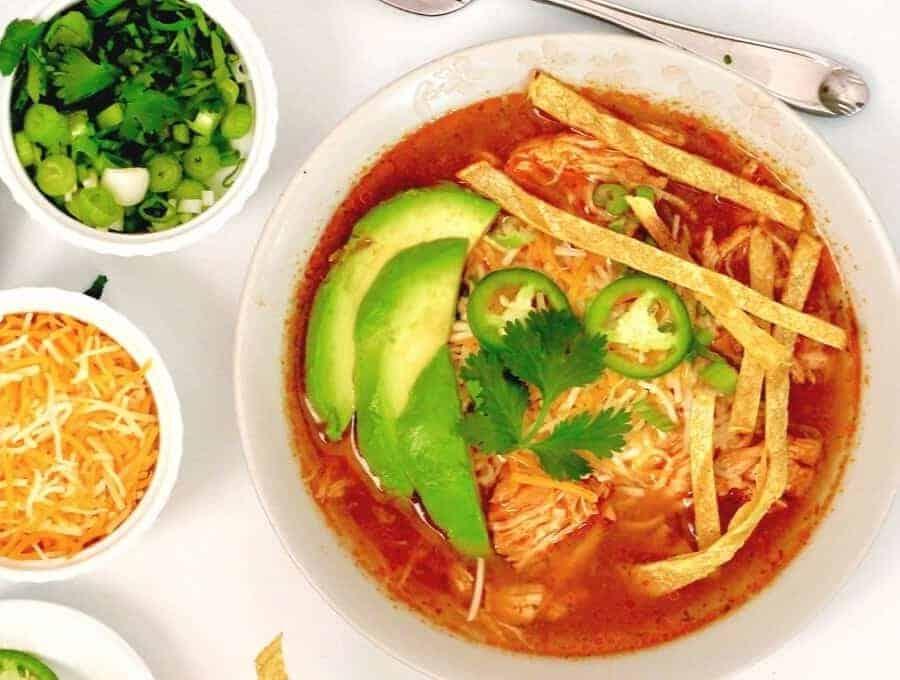 Instant Pot Chicken Tortilla Soup Wide Shot