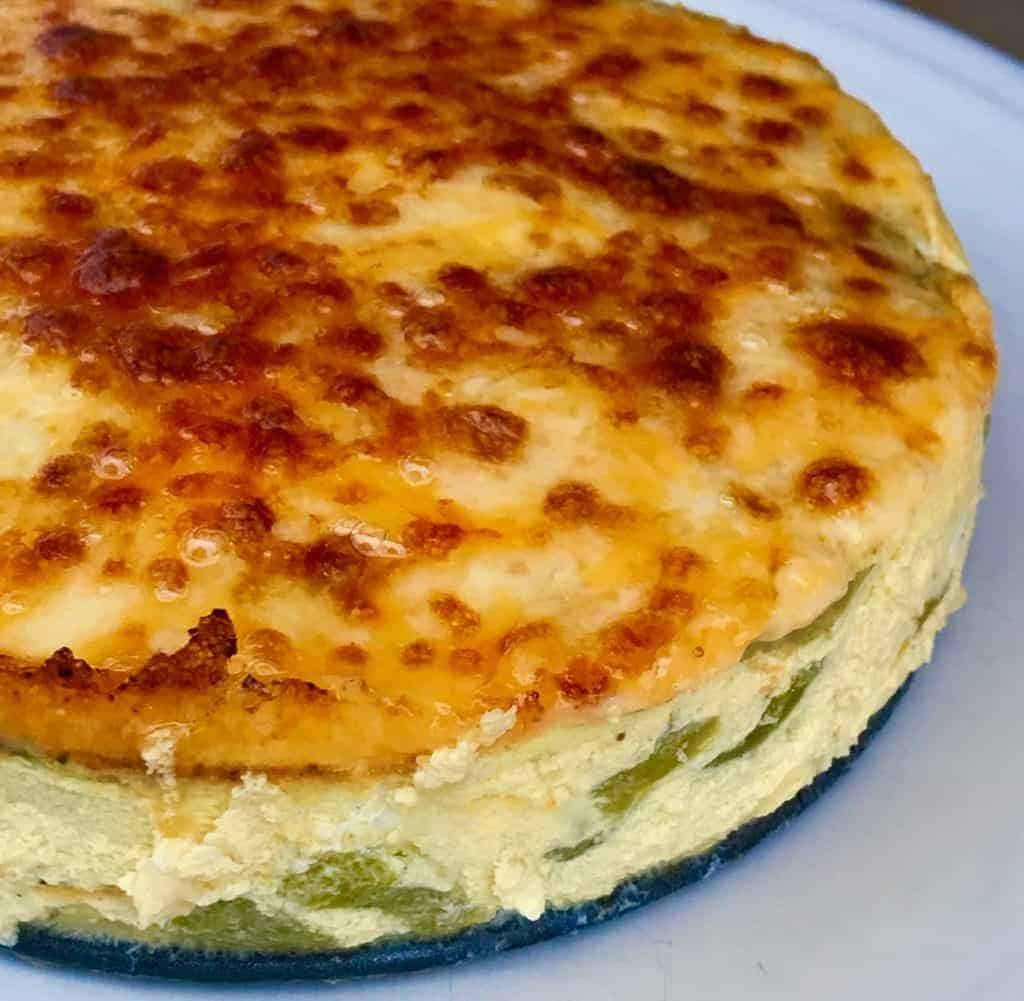 Pressure cooker Keto Low Carb Poblano Frittata is as good for breakfast as it is for dinner. A very popular way to make an easy keto frittata in your Instant Pot or Pressure cooker!
