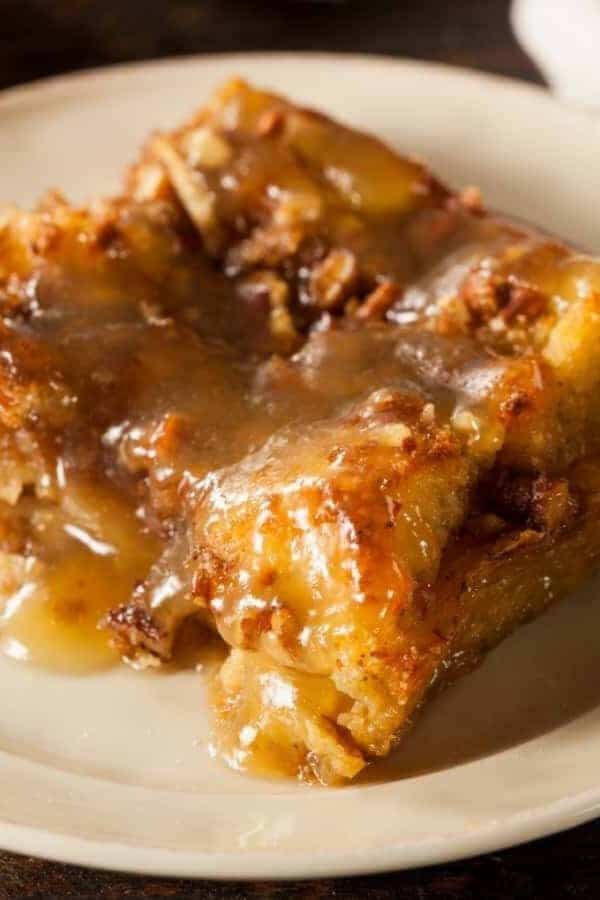 Close up of Tres Leches Croissant Bread Pudding.