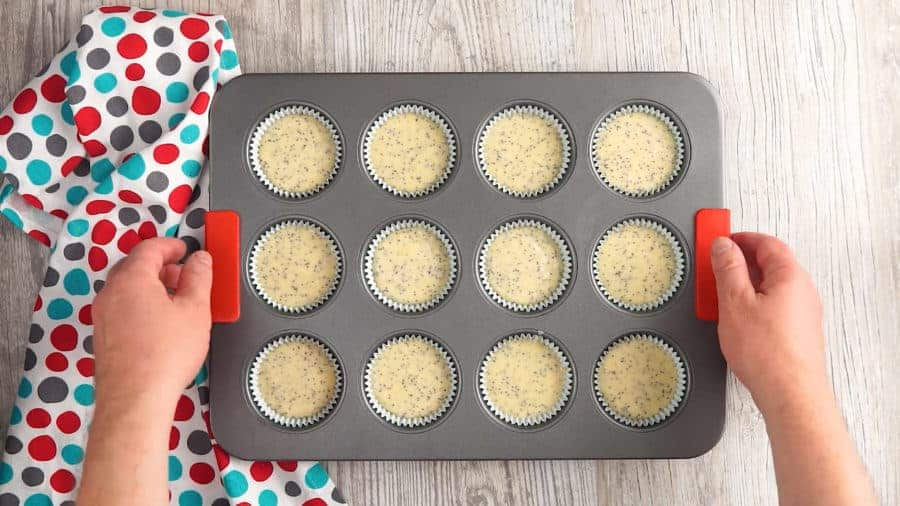 Divide the batter into 12 muffin cups