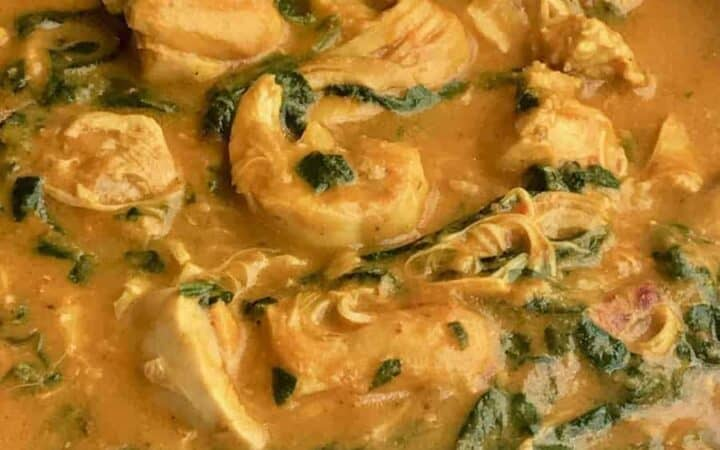 Instant Pot Indian Chicken Curry recipe that comes together in 15 minutes. Chicken, yogurt, and spinach make a healthy, authentic homestyle Indian curry.