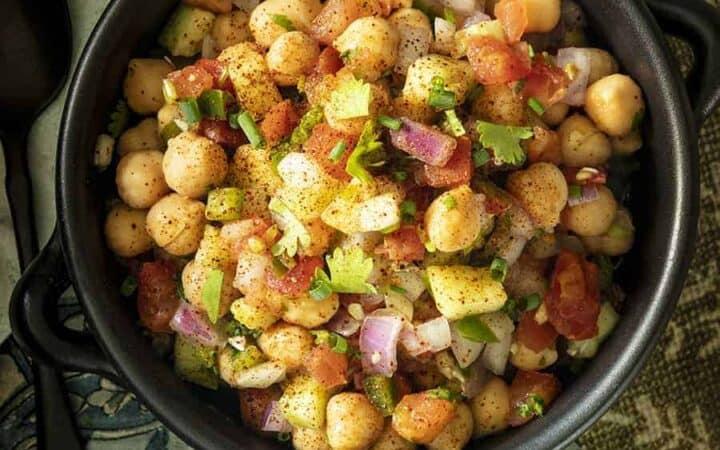 Chickpea Salad finished, served in a black bowl