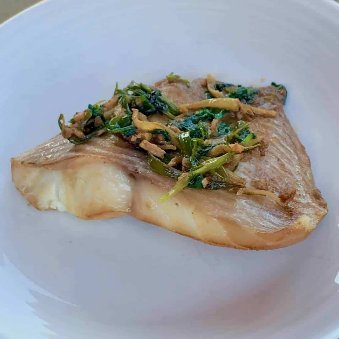 ... low carb ginger scallion fish are marinate fish and then steam for 2