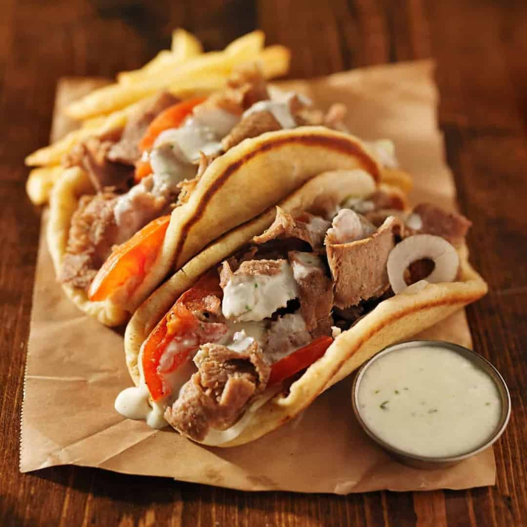greek gyros with tzatziki sauce, all homemade