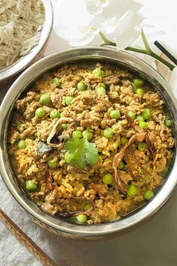 Instant Pot Indian Kheema recipe overhead view