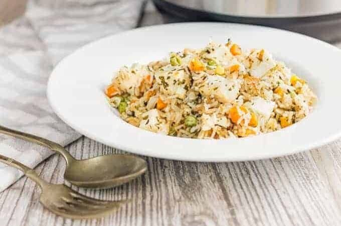 Instant Pot paneer Biryani in a white bowl