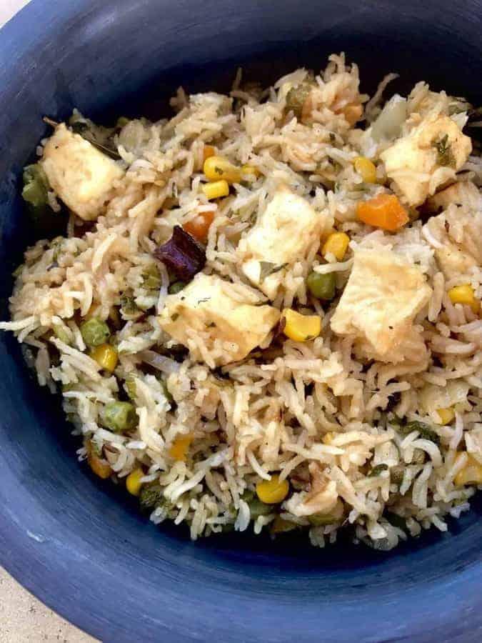 Instant Pot Vegetarian Paneer Biryani Two Sleevers