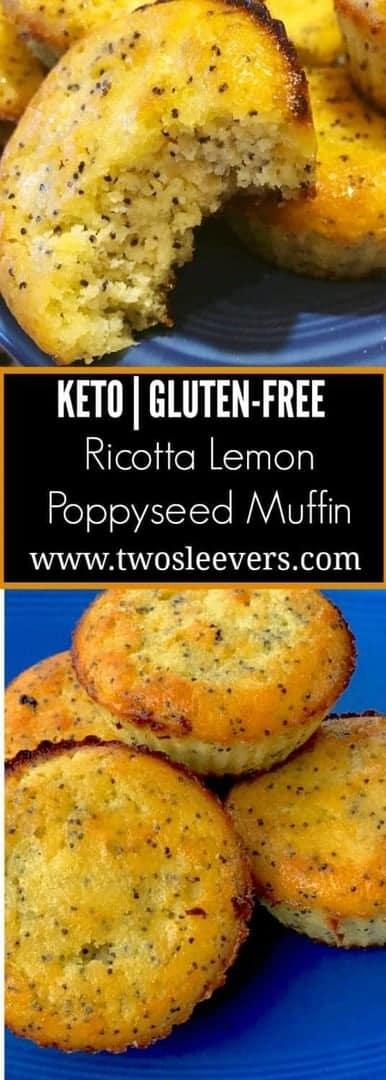 Close up of Ricotta Lemon Poppyseed Muffins.