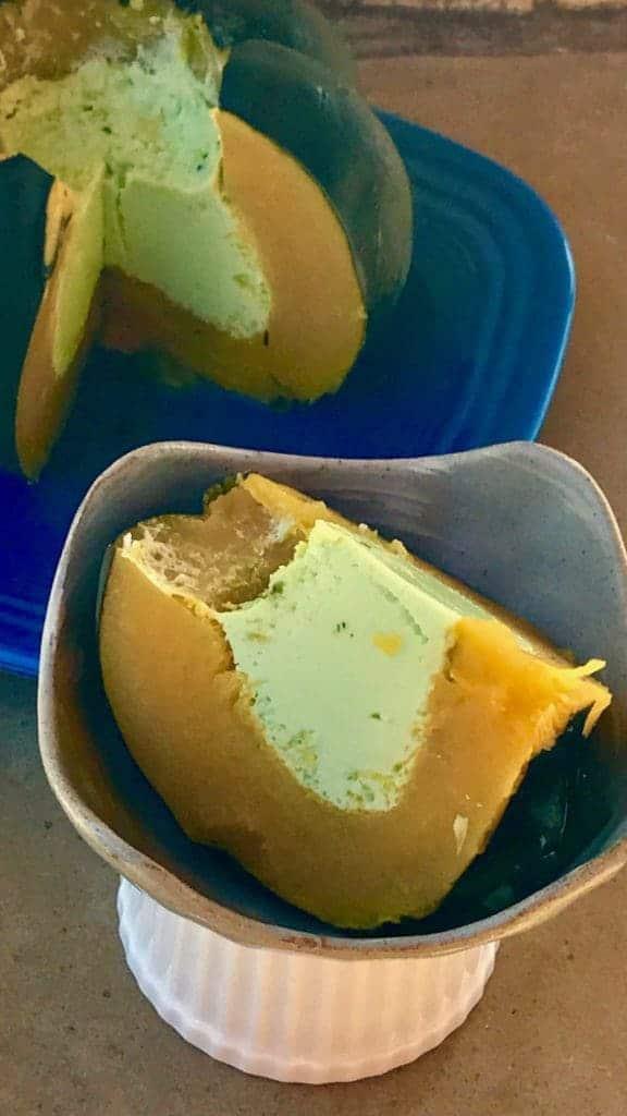 slice of Sanghaya 576x1024 - Instant Pot Sangkhaya Pandan Coconut Custard in Acorn Squash - https://twosleevers.com