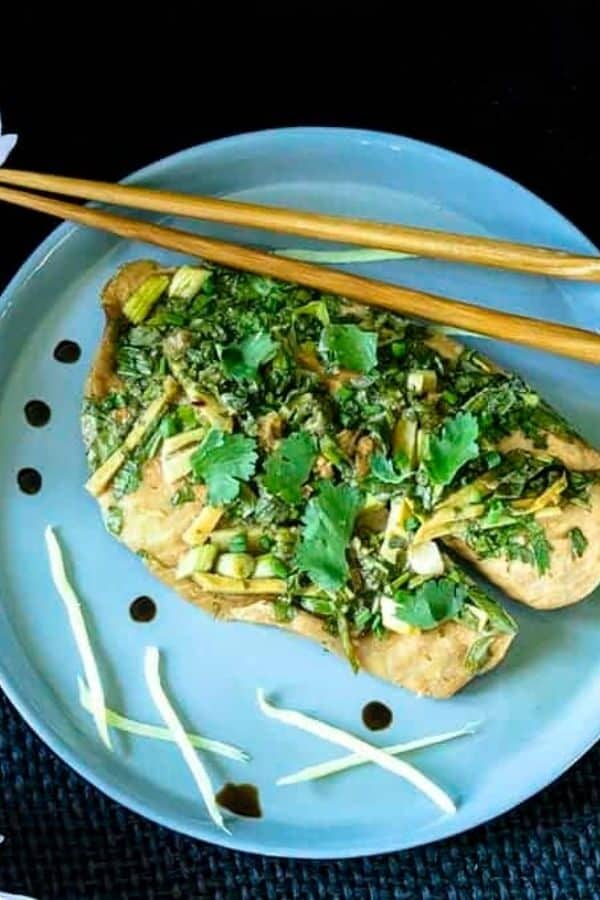 Instant Pot Steamed Fish On A Blue Plate