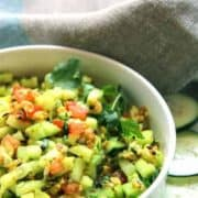 Cucumber Peanut Salad. Indian koshimbir is perfect for summer and requires almost no cooking. Refreshing combination of cucumbers and peanuts with a few additional spices complete this perfect summer salad.