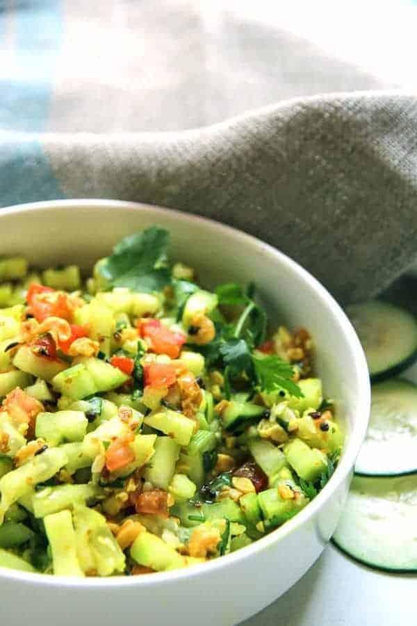 Indian Cucumber Peanut Salad | Kakadi Chi Koshimbir