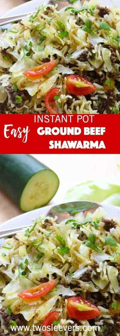 This recipe for the Instant Pot Ground Beef and Rice Shawarma is what happens when you come home tired after 4 long days of driving, everyone is hungry, there's almost nothing in the fridge and you need to cook dinner for 5 people.