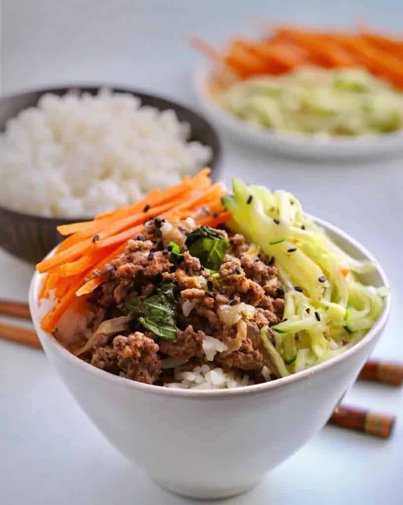 A bowl of Spicy Basil Beef Bowls.