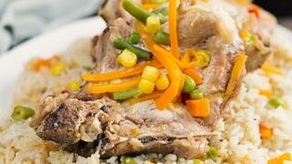 Instant Pot Pork Chops and Rice with Vegetables