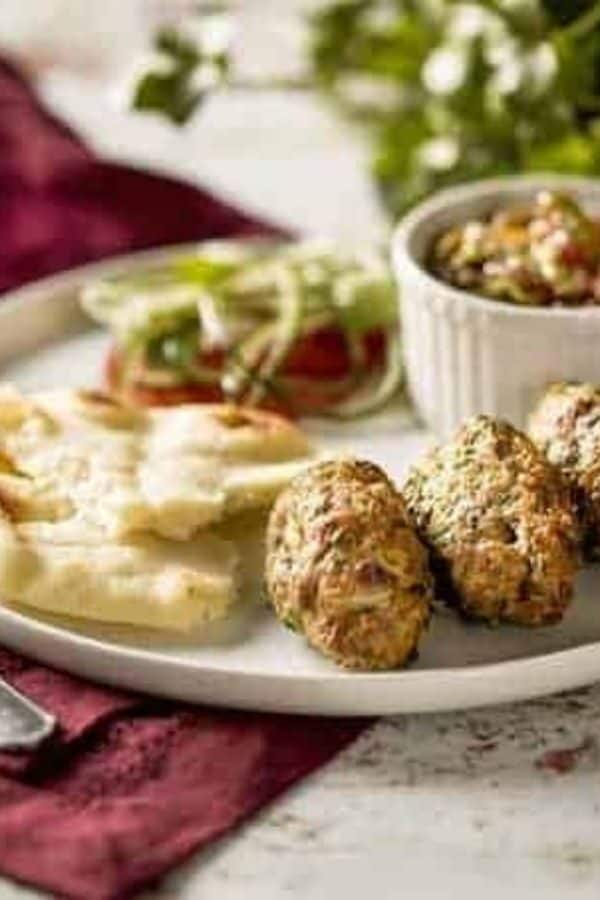 Seekh Kababs on a white platter