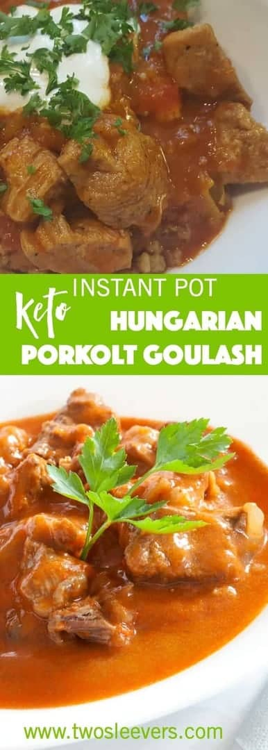Pressure Cooker Hungarian Porkolot or authentic Hungarian Goulash is a thick meat stew, with meat, onions, and a few other vegetables, fragranced and flavored with Hungarian Paprika, and cooked until it's soft and fork-tender. The pressure cooker is perfect for tenderizing meat and infusing the flavor of the aromatics and the sweet paprika all into the stew.