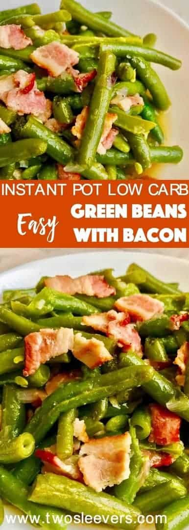 Pressure Cooker Green Beans with Bacon is a quick, low carb, nutritious dish that can be eaten either as a side dish or as your main low carb meal. Just beans, bacon, and a few seasonings make this a fast and easy dish in your Instant Pot.