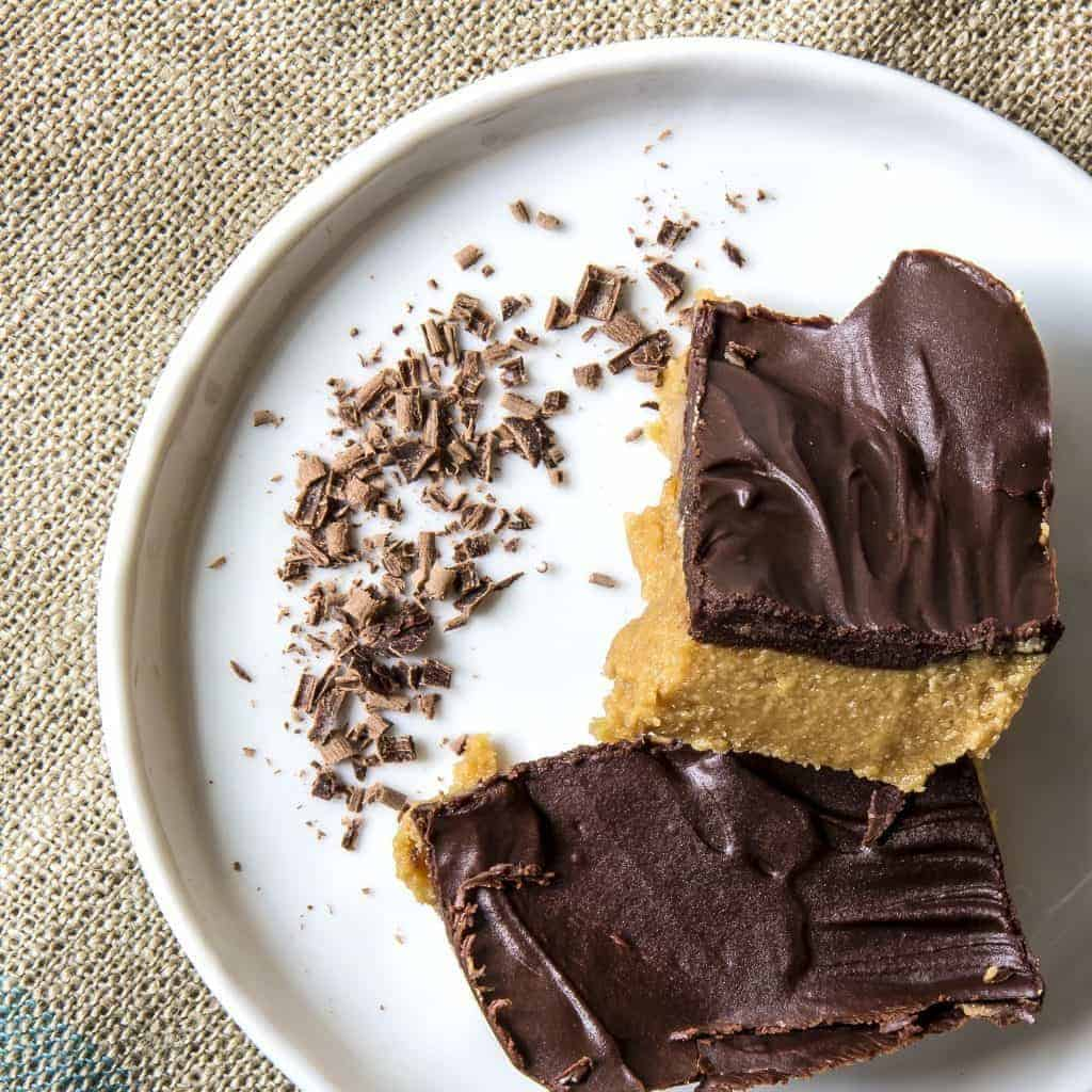 Keto desserts a sugar free peanut butter chocolate bars on a white plate