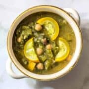 This summer soup is filled to the brim with chickpeas, rainbow chard, and yellow summer squash. Garlic and parsley give it it a fresh taste, for a soup everyone can enjoy.