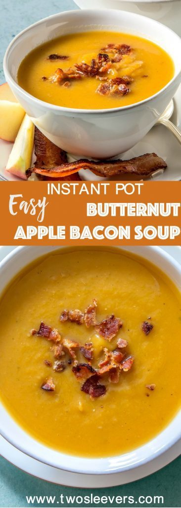 Easiest Butternut Apple soup with Bacon that you'll ever make in your pressure cooker. The apples and savory bacon add a wonderful flavor to the soup.
