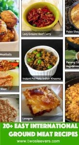 Are you tired of making tacos and hamburgers and then running out of ideas on what to do with ground meat? Do you want easy ground beef recipes or recipes for ground chicken, ground pork recipes or ground lamb recipes? Well, here are a few easy ground meat recipes. Many of them are low carb or keto, and all these ground meat recipes are easy. They also cover the gamut in terms of cuisines: Indian, Thai, Greek, Lebanese, Chinese, etc. recipes all make a showing in this list of 20+Best International Ground Meat Recipes.