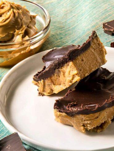 keto peanut butter bars on white plate