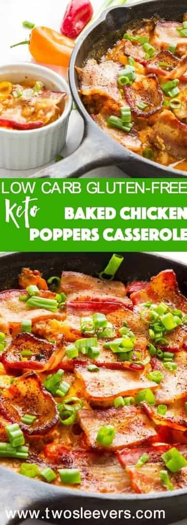 One step Baked Chicken Poppers combine chicken, 2 kinds of cheese, peppers and bacon to get a hearty, keto-friendly low carb appetizer