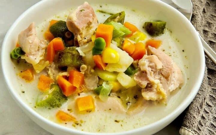 Creamy Chicken Soup Wide Shot