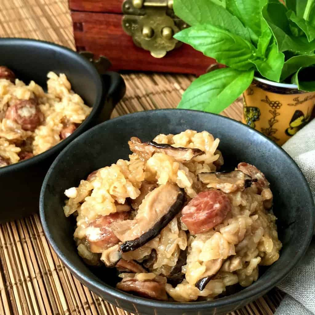 This pressure cooker recipe for Chinese Sticky Rice with Sausage recreates the a simpler version of the dim sum favorite Lo Mai Gai in one step, using your Instant Pot. So nice to be able to make this at home for a weeknight supper!