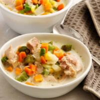 Here's a super easy, delicious and highly customizable creamy chicken soup recipe for your pressure cooker or instant pot that you can make with whatever you have in your pantry, freezer, or fridge.
