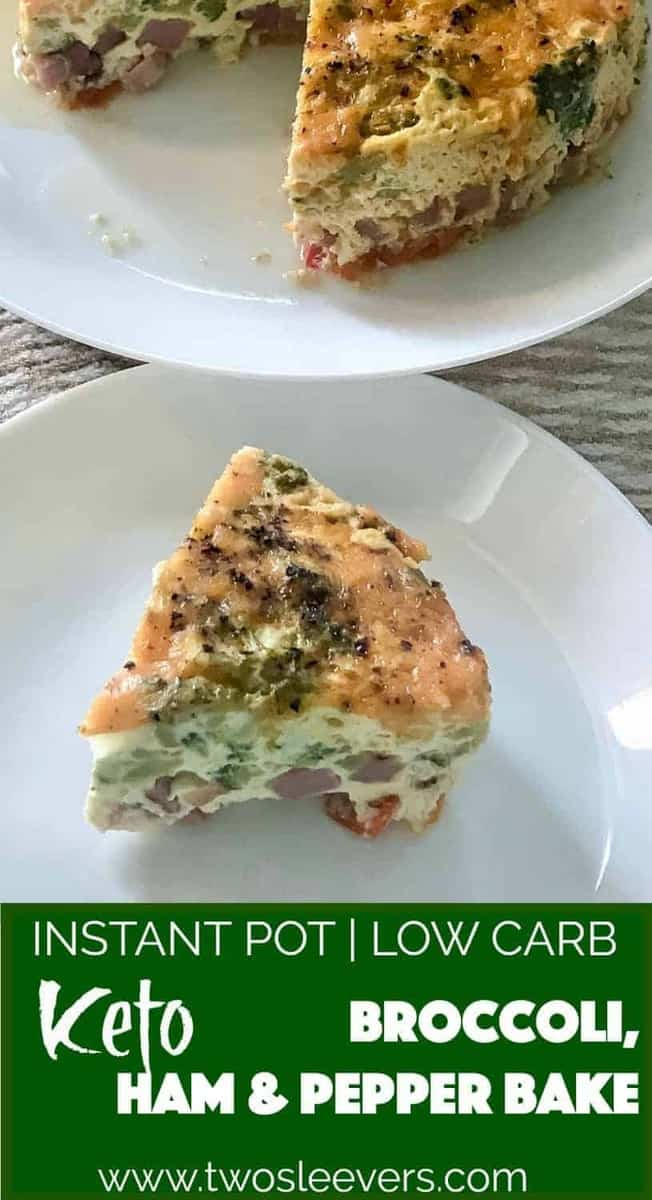 Instant Pot Keto Broccoli ham and pepper frittata makes a fabulous breakfast or brunch, or a light one pot meal. Low carb, keto, and delicious. The pressure cooker makes really light and fluffy eggs that are an absolute delight.