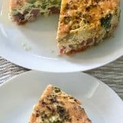 slice of broccoli ham pepper with the whole pie in the back