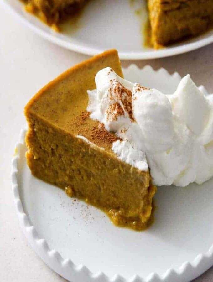 Closeup of a slice of Pumpkin Pie Pudding.