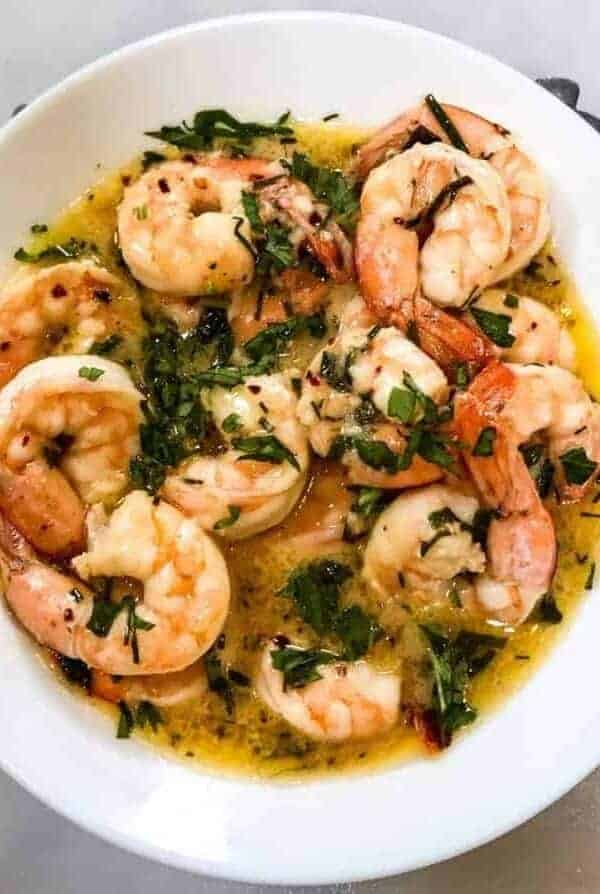 Overhead shot of shrimp scamp. 8 minutes start to finish to make this air fryer keto low carb shrimp scampi. So simple to make, so delicious you won't believe it.