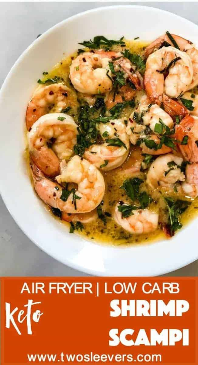 Just 8 minutes start to finish to make this air fryerlow carb keto shrimp scampi. So simple to make, so delicious, you won't believe it.